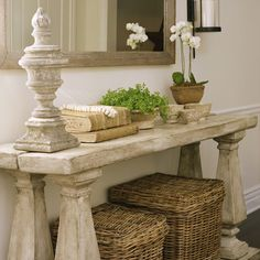 HAD AN IDEA: this would be a fantastic dining table base!!!  Just have the top made. These stone balustrades are not expensive to have made here.  Console Table - made of stone. Me:  LOVE IT! Me:  Great idea!!