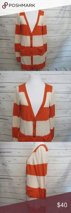 """Yellow Bird Anthropologie Orange Cardigan.Top M Brand: Yellow Bird  Size: M Material: 55% Cotton 38% Nylon 7% Viscose Care Instructions: Machine Wash  Bust: 40"""" Shoulders: 15"""" Sleeves: 26"""" Length: 31""""  All clothes are in excellent used condition. No tears, stains or holes unless otherwise I noted.   P? Anthropologie Tops"""