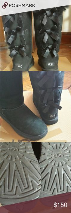 UGG Bailey Bow boots Black Tall Bailey Bows, worn maybe 5 times, like brand new. Paid $205 UGG Shoes Ankle Boots & Booties