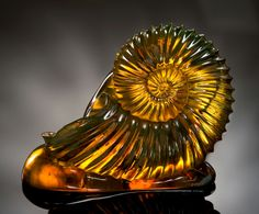 AMBER AMMONITE CARVING Dominican Republic
