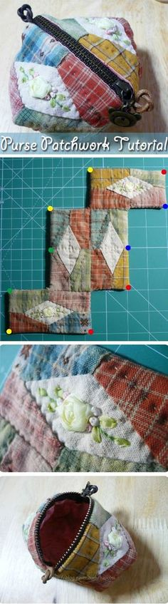 Simple Purse Patchwork embroidered ribbons. DIY step-by-step tutorial. http://www.handmadiya.com/2015/08/purse-patchwork.html