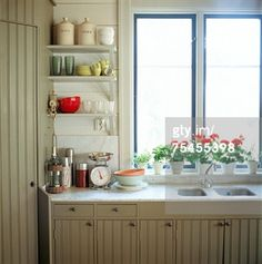 5 Rules for Open Shelving in Your Kitchen . How to showcase your dinnerware in open storage cabinets. Kitchen Shelves, Kitchen Dining, Kitchen Decor, Kitchen Cabinets, Storage Cabinets, Kitchen Windows, Nice Kitchen, Kitchen Corner, Kitchen Sinks