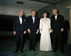 United Nations Ambassador Adlai Stevenson, President and Mrs. John F. Kennedy, and Vice President Lyndon Johnson.