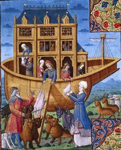 NOAH'S ARK, PINK UNICORNS ascending the ramp...   Nacional de España, Libro de horas de Carlos V. Paris (workshop of Jean Poyer?), late 15th/early 16th century.