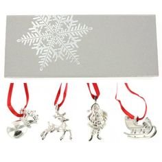 St. Nick 4 Pc. Pewter Christmas Ornament Set Gift Boxed
