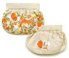 Moyna, Birds and Frower Embroidery Gathered Clutch Bag, Ivory and Orange