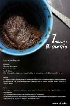One minute Nutella Eggless Brownie...delicious, single serving brownie ready within a minute...isn't it wonderful! Easy Mug Brownie Recipe, Nutella Mug Brownie, Nutella Snacks, Brownie In A Mug, Nutella Cookies, Nutella Recipes, Mug Cake Eggless, Eggless Desserts, Eggless Baking