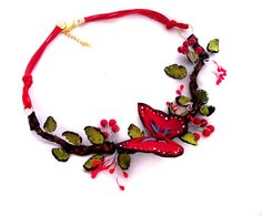 Statement necklace Red butterfly leather necklace by julishland, $33.00