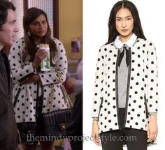 """Mindy wears this black and white dot jacket in """"Dinner At The Castellanos"""" /// Alice + Olivia Collarless Polka Dot Coat (was $495, sold out, get the look with this cheaper alternative) Worn with Ralph Lauren dress and Kate Spade earrings"""