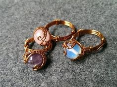 Tutorial rings with spherical stones - nhẫn với đá hình cầu - How to make wire jewelry - YouTube