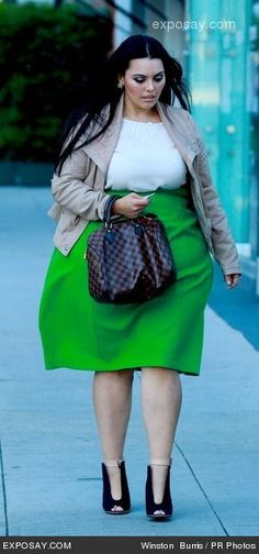 Rosie Mercado - love the bright green #slimmingbodyshapers   Sweet! Big curvy plus size women are beautiful! fashion curves real women accept your body Body consciousness plus size shapewear and bras to feel your most comfortable under any clothing slimmingbodyshapers.com