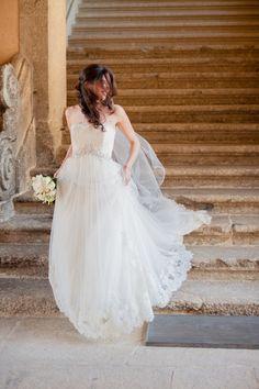 Wedding Gown by Enzoanie -- See this destination wedding on SMP: http://www.StyleMePretty.com/destination-weddings/2014/02/03/pousada-santa-maria-do-bouro-wedding/ Piteira Photography
