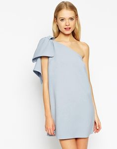 ASOS Shift Dress with Bow One Shoulder