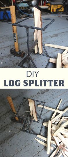 Stationary wood splitter that can be used to split logs or make kindling.