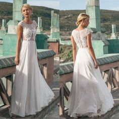 Elegant Chiffon Lace Beach Wedding Dress 2017 Vestido De Noiva Sheath Beach Wedding Dresses Button Back Bridal Gowns Sleeveless