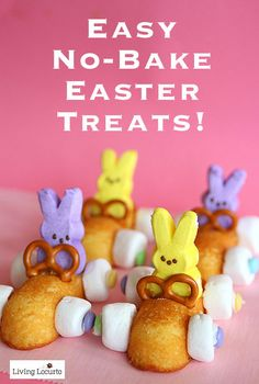 Easy No Bake Easter Treats! A few ideas that you can do in minutes with Peeps. Great treat for kids to make themselves. LivingLocurto.com