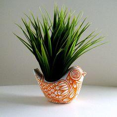 Ceramic Bird Planter Orange White Folk Art Vase Fall Home Decor Painted Tattoo…
