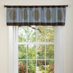 @Overstock - Constructed of polyester with a chic print pattern, this valance is a lovely touch to any decor.  This window treatment features a rod pocket design for easy installation and a full lining provides extra privacy.http://www.overstock.com/Home-Garden/Lush-Decor-Blue-Chocolate-Sandra-Valance/6072495/product.html?CID=214117 $16.79