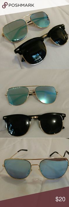 Blue and Black Sunglasses 👓 Behind Hemlines Get this cool-look sunglasses duo to look good in the city and at the beach, or anywhere in between! There may be a few MINOR scratches. Behind Hemlines Accessories Sunglasses