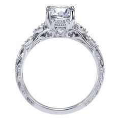 Look at the beautiful and intricate details on the side profile of this vintage inspired engagement ring! <3