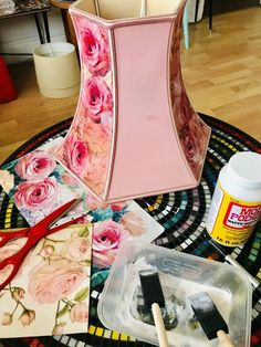 How to Make a Pretty DIY Upcycled Pink Rose Decoupage Lampshade - I wanted a warm pretty lampshade to compliment my bedroom and found just the perfect plain lampshade in need of a make over in my local charity shop. Lamp Makeover, Furniture Makeover, Upcycled Crafts, Lampshades, Diy Lampshade, Flower Lampshade, Diy Drum Shade, Her Wallpaper, Diy Home Accessories