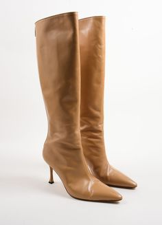 Tan Leather Knee High Heeled Boots