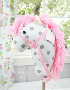 Handcrafted Stick Horse, Hobby Horse - Grey Polka Dot on Pink