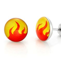 Dynamite Stainless Steel Flames Design Stud Earrings for Men Jewelry (Orange Yellow) by R&B Jewelry -- Awesome products selected by Anna Churchill