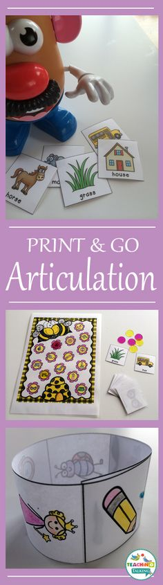 Articulation Therapy Activities: Print and Go Worksheets - Use this set of 400+ printable worksheets for your Kindergarten, 1st, 2nd, and 3rd grade speech therapy students to master their oral communication skills. These work great for mixed groups, print & go activities, review, speech lessons, special education, and more. You get worksheets, articulation cards, initial medial and final word positions, images, bracelets, game boards, and more. {K, first, second, third graders}