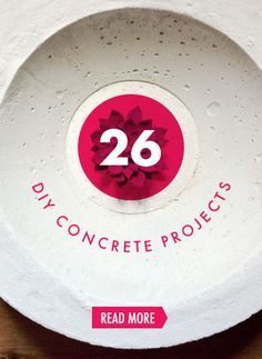 26 DIY Concrete Projects — a few CHENG DIY projects in these tutorials. All of them would look great with some CHENG Pro-Formula concrete color pigments added Concrete Bath, Concrete Table, Concrete Crafts, Cinder Block Furniture, Papercrete, Metallic Spray Paint, Beton Diy, Concrete Color, Tea Light Holder