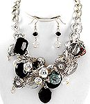 Funky Chunky jeweled neck and ear set, black and crystals @ Interior Concepts