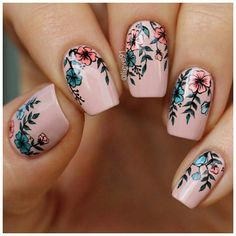 tropical summer floral #nail art design @IIIannaIII
