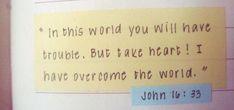 John 16:33 but needs whole verse My favorite bible verse!!!!!!