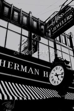Bay City, Michigan downtown city black/white city photography wall art
