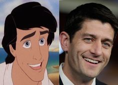 Rep. Paul Ryan resembles Prince Eric from the Little Mermaid. I knew there was a reason I love him
