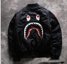 Lo último Para hombres Japón Tiburón Mandíbula patrón Cremallera A BATHING APE Algodón Abrigo Chaqueta bape