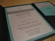 Black and Turquoise Pocketfold Wedding Invitation Suite With Sparkly Silver Ribbon Detail.