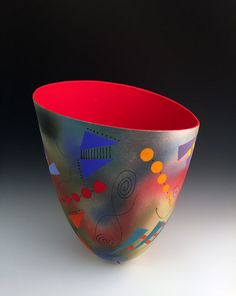 Abstract and Geometric Tall Vase with Red Interior by Jean Elton (Ceramic Vase) | Artful Home
