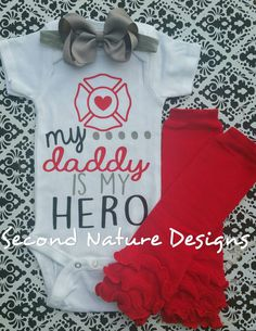 Baby Girl's Firefighters Daughter Onesie by SecondNatureDesigns1