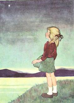 Girl with Star  -- Twinkle Twinkle Little Star, 1956 Childrens Nursery Rhyme Illustration