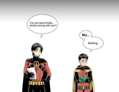 satire-please said: Would you like some inspiration about fem! Damian has a dream about Fem!Tim and him getting married.Tim is the one who wakes him up. And Damian is half embarrassed, but. Batman Comic Art, Gotham Batman, Marvel Dc Comics, Batman Robin, Robin Comics, Dc Comics Art, Damian Wayne, Nightwing, Batgirl