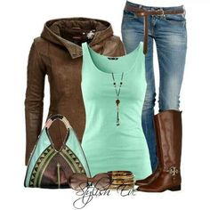 Casual brown leather boots and jeans