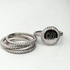 Check out our new favorite #monogram CZ stacking rings.  $50  Cubic Zirconia…