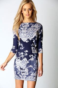 Darcey Printed Long Sleeve Bodycon Dress - from Boohoo.com