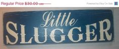 Little Slugger Sports Baseball Boys by CottageSignShoppe- could make this...