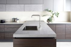 Burbidge's Otto Kitchen in Dark Walnut, Painted Mink and Concrete - Peninsula