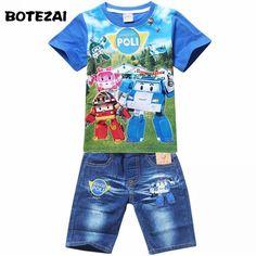 4191e442df59 2017 Summer POLI ROBOCAR Children Boys Clothing Sets Baby Kids Suits Shirt  Jeans Shorts Pants Cotton Cartoon Clothes Set