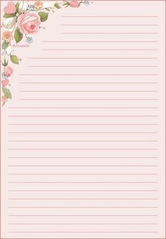 roses in corner Cute Stationery, Stationery Paper, Journal Paper, Journal Cards, Envelopes, Printable Lined Paper, Stationary Printable Free, Notebook Paper, Note Paper
