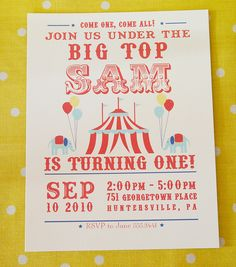 Circus Carnival Birthday Party Invitation by Green Apple Paperie, via Flickr