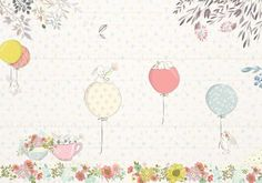 rabbit and balloons wallpaper custom baby girls room wall